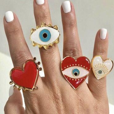 Lovely Vintage Eye White Alloy Ring