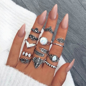 Lovely Trendy 13-piece Silver Alloy Ring