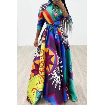 Lovely Trendy Turndown Collar Printed Multicolor Floor Length Dress