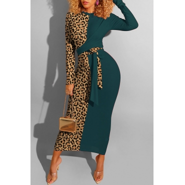 Lovely Casual Leopard Patchwork Blackish Green Ankle Length Dress