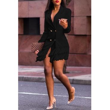 Lovely Trendy Flounce Patchwork Black Mini Dress
