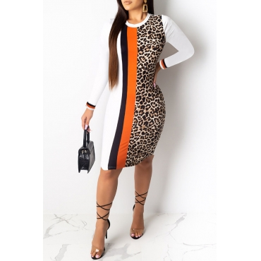 Lovely Casual Leopard Printed White Knee Length Dress