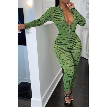 Lovely Sexy Printed Skinny Green One-piece Jumpsuit