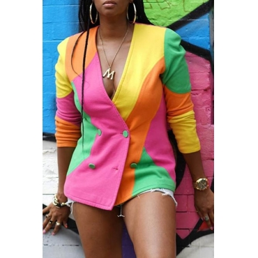 Lovely Trendy Patchwork Multicolor Blazer