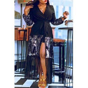 Lovely Trendy Patchwork Black Blazer