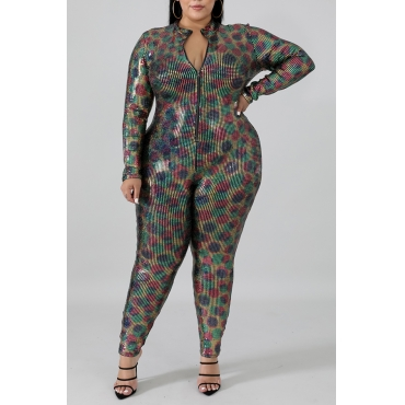 Lovely Casual Half A Turtleneck Multicolor Plus Size One-piece Jumpsuit