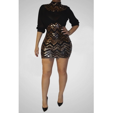 Lovely Sexy Patchwork Sequined Gold Mini Dress