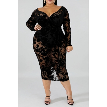 Lovely Sexy V Neck Hollow-out Black Mid Calf Plus Size Dress - $14.99