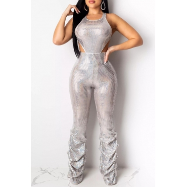 Lovely Sexy Hollow-out Silver One-piece Jumpsuit