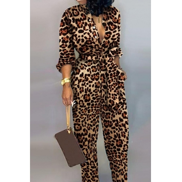 Lovely Trendy Leopard Printed One-piece Jumpsuit