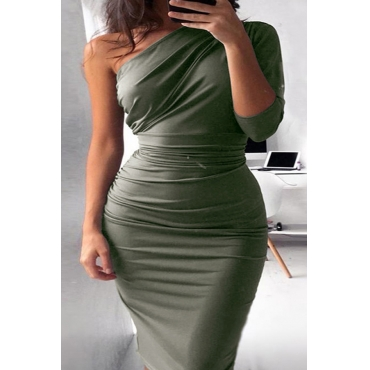 Lovely Casual One Shoulder Army Green Knee Length Dress