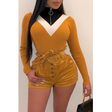 Lovely Casual Turtleneck Color-lump Patchwork Yellow Sweater