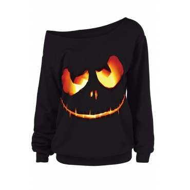 Lovely Halloween Casual Printed Black Sweatshirt Hoodie