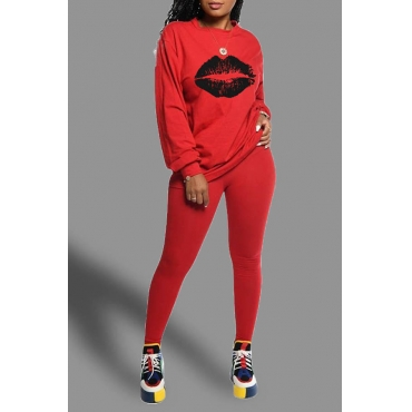 Lovely Casual Lip Printed Red Two-piece Pants Set