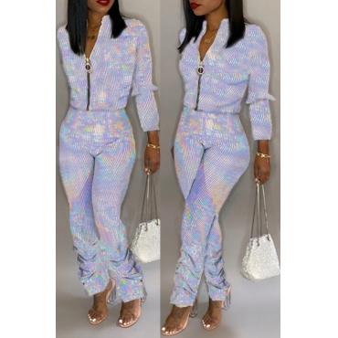 Lovely Trendy Zipper Design Silver One-piece Jumpsuit