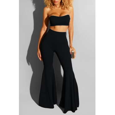 Lovely Leisure Off The Shoulder Black Two-piece Pants Set