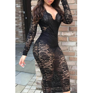 Lovely Sexy See-through Black Mid Calf Dress