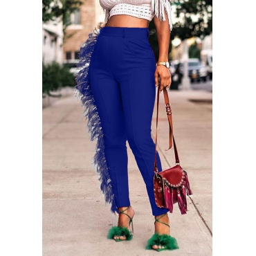 Lovely Casual Tassel Design Blue Pants