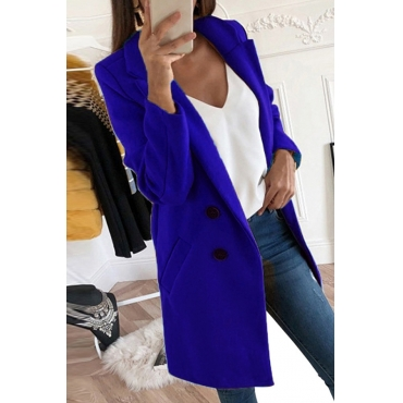 Lovely Casual Basic Buttons Design Royal Blue Coat