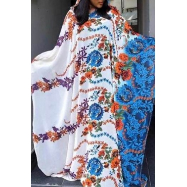 Lovely Casual Printed Loose White Ankle Length Plus Size Dress
