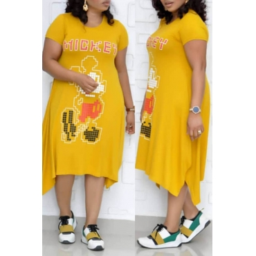Lovely Leisure Printed Yellow Mid Calf Plus Size Dress