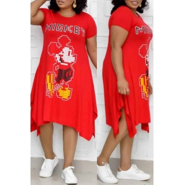 Lovely Leisure Printed Red Mid Calf Plus Size Dress