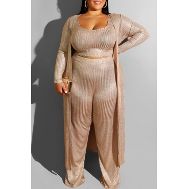 Lovely Casual Loose Gold Plus Size Three-piece Pants Set