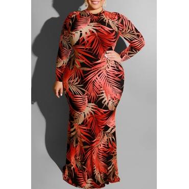 Lovely Trendy Printed Wine Red Floor Length Plus Size Dress