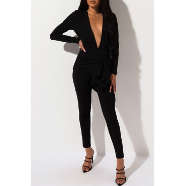 Lovely Work Deep V Neck Flounce Black Two-piece Pants Set