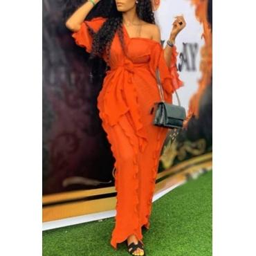 Lovely Casual V Neck Ruffle Design Jacinth Ankle Length Plus Size Dress
