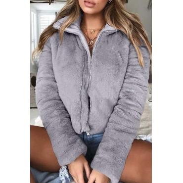 Lovely Casual Zipper Design Grey Coat