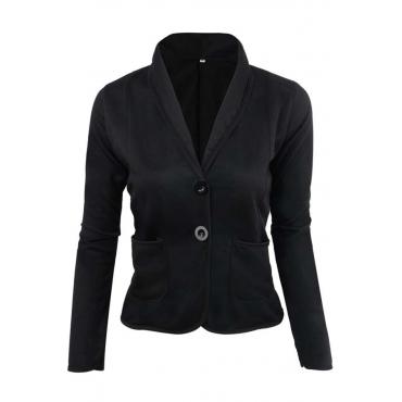 Lovely Work Buttons Short Black Coat
