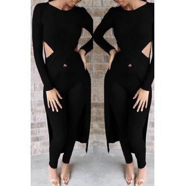 Lovely Casual Asymmetrical Black Two-piece Pants Set