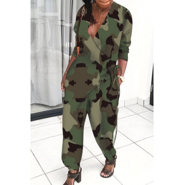 Lovely Trendy V Neck Loose Army Green One-piece Jumpsuit