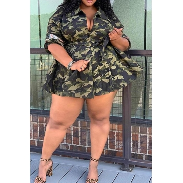 Lovely Casual Camouflage Printed Army Green Plus Size Mini Dress