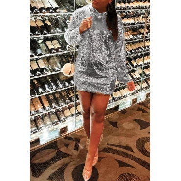 Lovely Casual Hooded Collar Silver Mini Dress