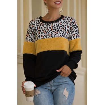 Lovely Casual Patchwork Leopard Sweatshirt Hoodie