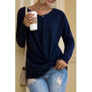 Lovely Chic Ruffle Design Navy Blue Sweater