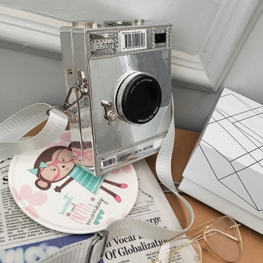 Lovely Casual Camera Silver Crossbody Bag