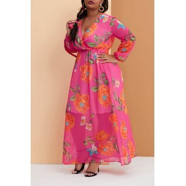 Lovely Casual V Neck Printed Rose Red Floor Length Plus Size Dress