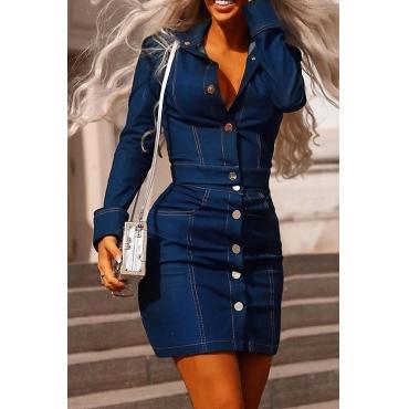 Lovely Work Turndown Collar Buttons Design Deep Blue Two-piece Skirt Set