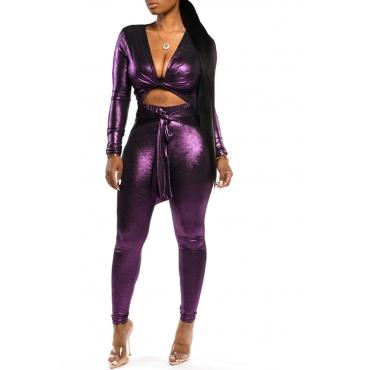 Lovely Sexy Knot Design Skinny Purple Two-piece Pants Set