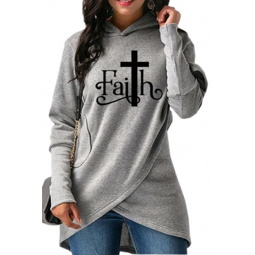 Lovely Casual Hooded Collar Letter Printed Light Grey Hoodie