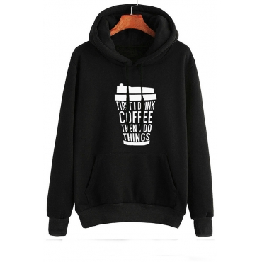Lovely Casual Letter Printed Black Hoodie