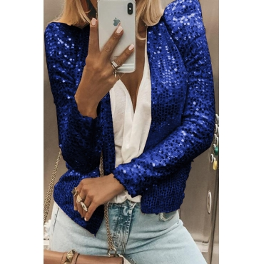 Lovely Casual Sequined Blue Blazer