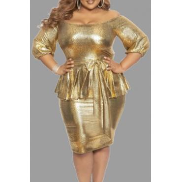 Lovely Chic Flounce Design Gold Plus Size Mini Dress