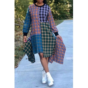 Lovely Casual Asymmetrical Plaid Printed Multicolor Knee Length Dress
