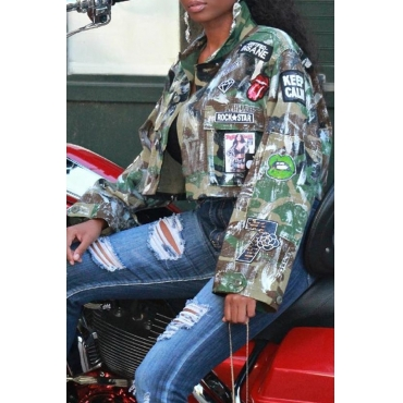 Lovely Casual Printed Army Green Jacket