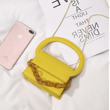 Lovely Trendy Chain Strap Yellow Messenger Bag