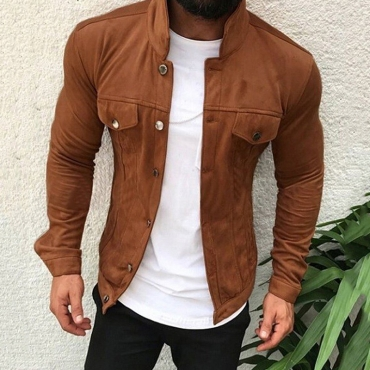 Lovely Casual Buttons Design Brown Jacket